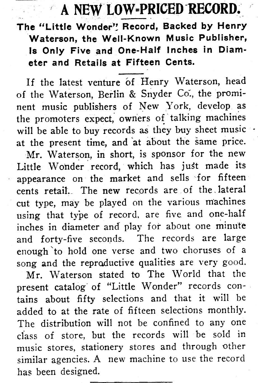 Little Wonder Record History, Bubble Books, Emerson, Victor, Harper
